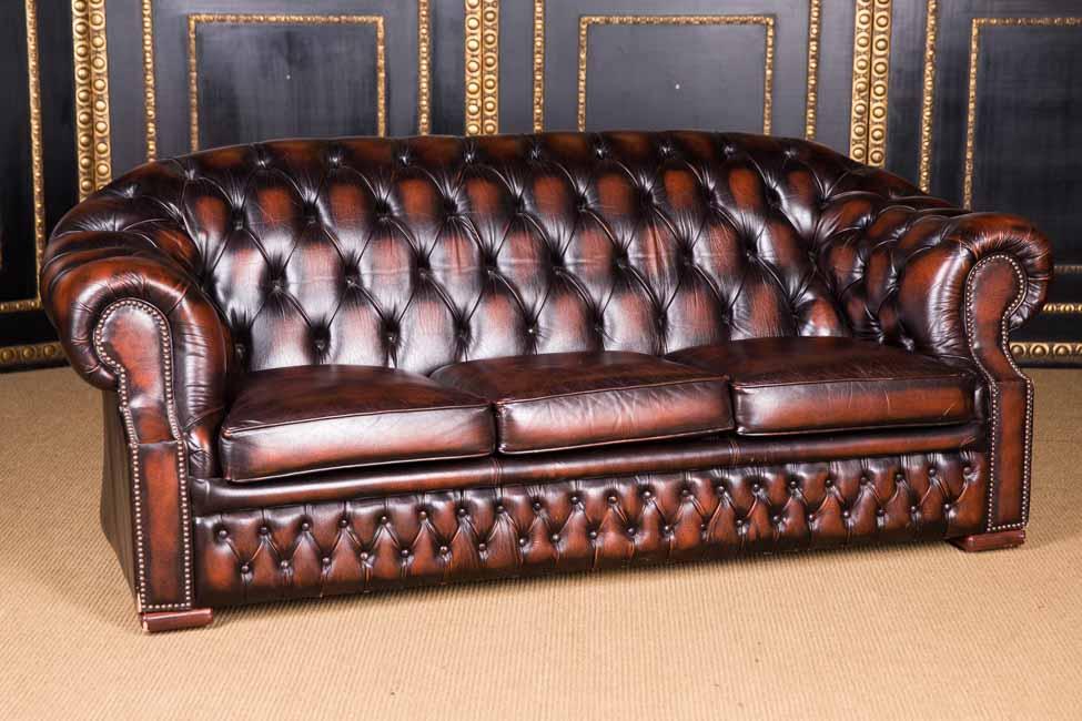 Original English Chesterfield Sofa Genuine Leather England