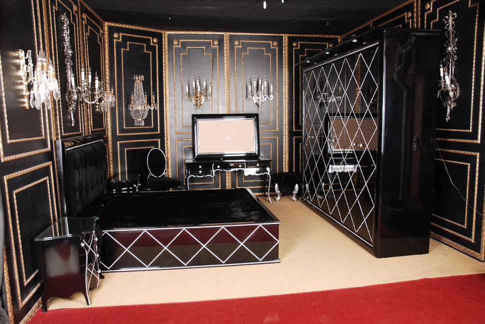 designer schlafzimmer schrank mit schmucksteinen und spiegel modern ebay. Black Bedroom Furniture Sets. Home Design Ideas