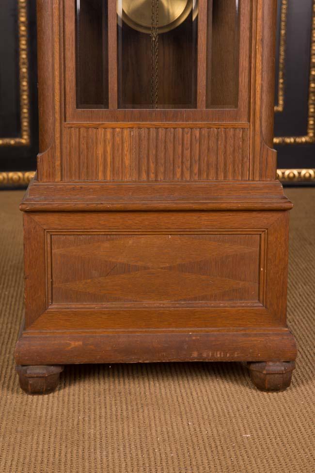 antike herrenzimmer standuhr zwei gewichte um 1900 eiche ebay. Black Bedroom Furniture Sets. Home Design Ideas