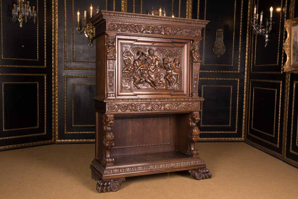 monumentale fig rliche renaissance bar herrenzimmer schrank 1880 ebay. Black Bedroom Furniture Sets. Home Design Ideas