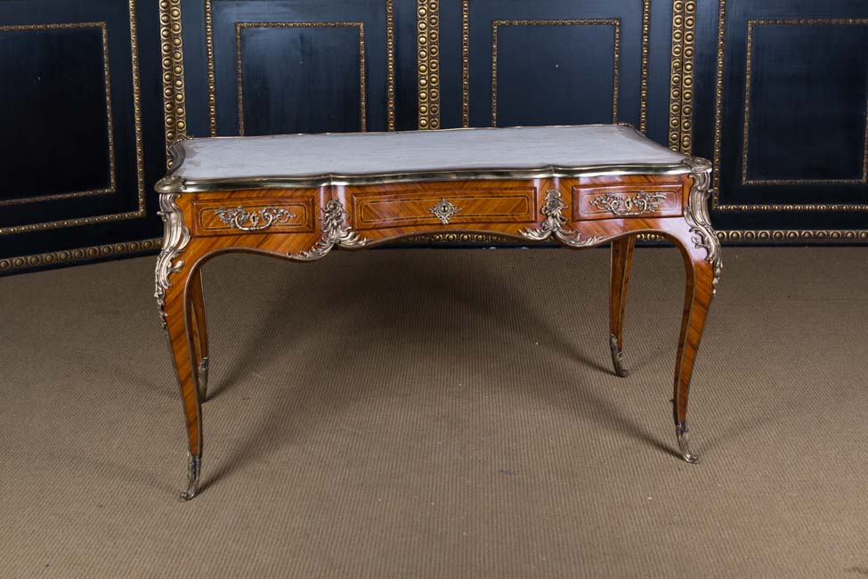High quality desk bureau plat in the louis xv style bois satiné