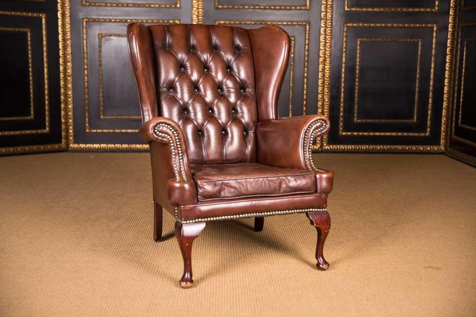 original englischer chesterfield ohrenbacken sessel leder mahagoni holz ebay. Black Bedroom Furniture Sets. Home Design Ideas