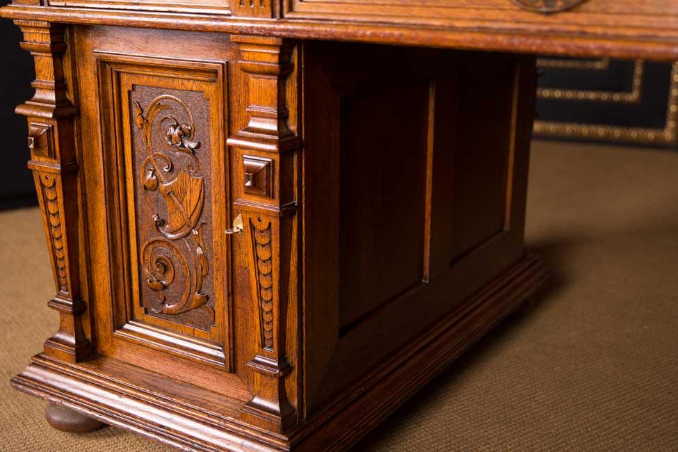 antiker gr nderzeit schreibtisch 1880 doppel desk 165x100 cm ebay. Black Bedroom Furniture Sets. Home Design Ideas