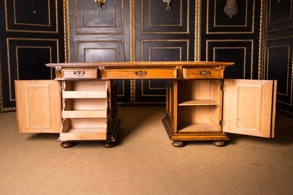 monumentaler gr nderzeit schreibtisch 1880 doppel desk 165x100 cm ebay. Black Bedroom Furniture Sets. Home Design Ideas